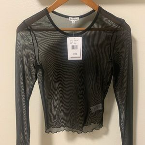 Black Long-sleeve Mesh Shirt